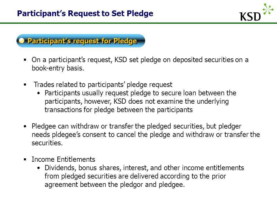 Participant's Request to Set Pledge