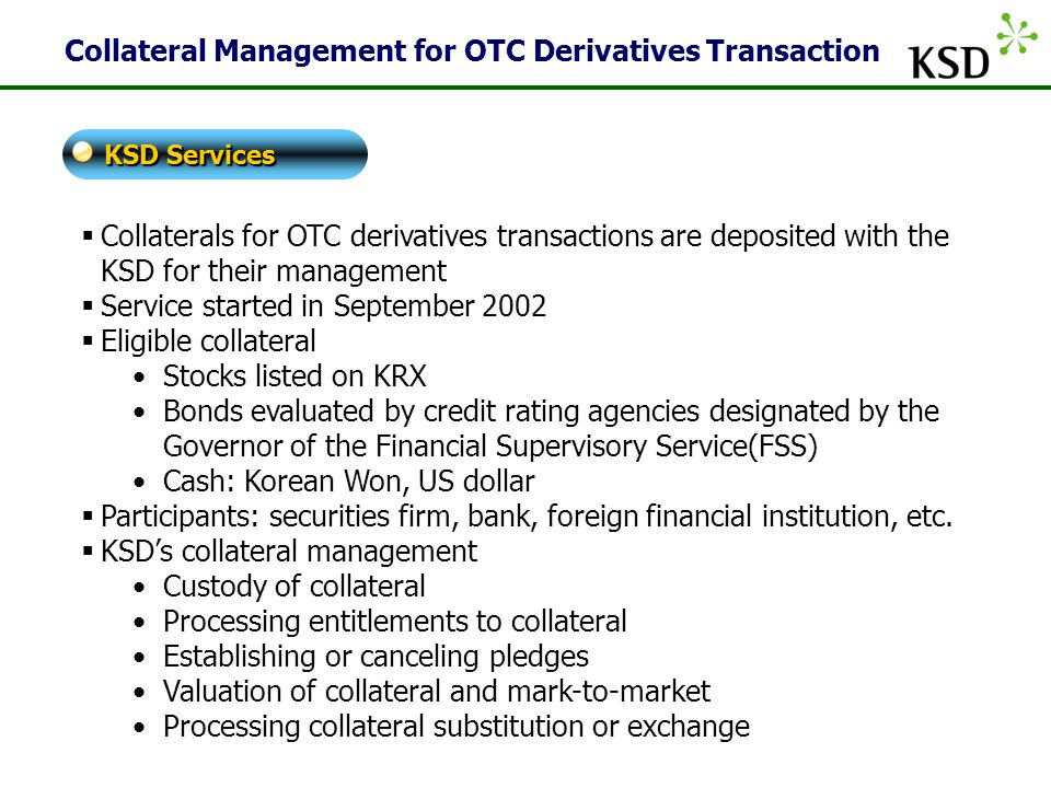 Collateral Management for OTC Derivatives Transaction