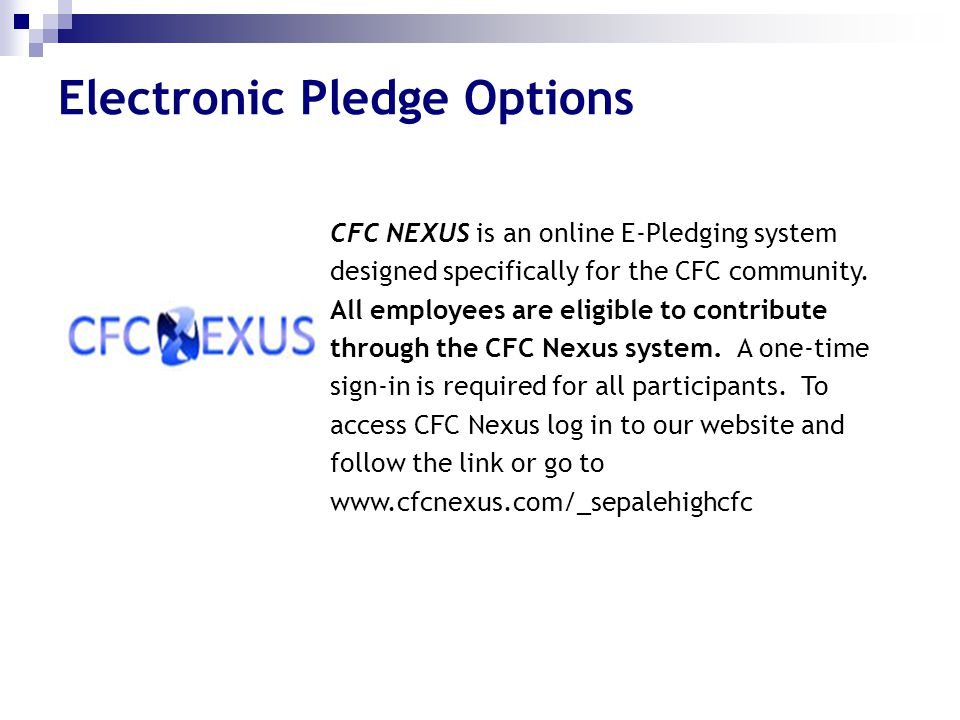 Electronic Pledge Options