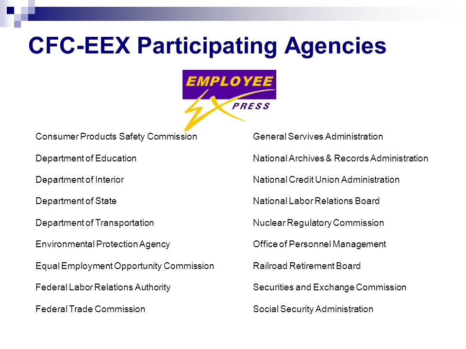 CFC-EEX Participating Agencies