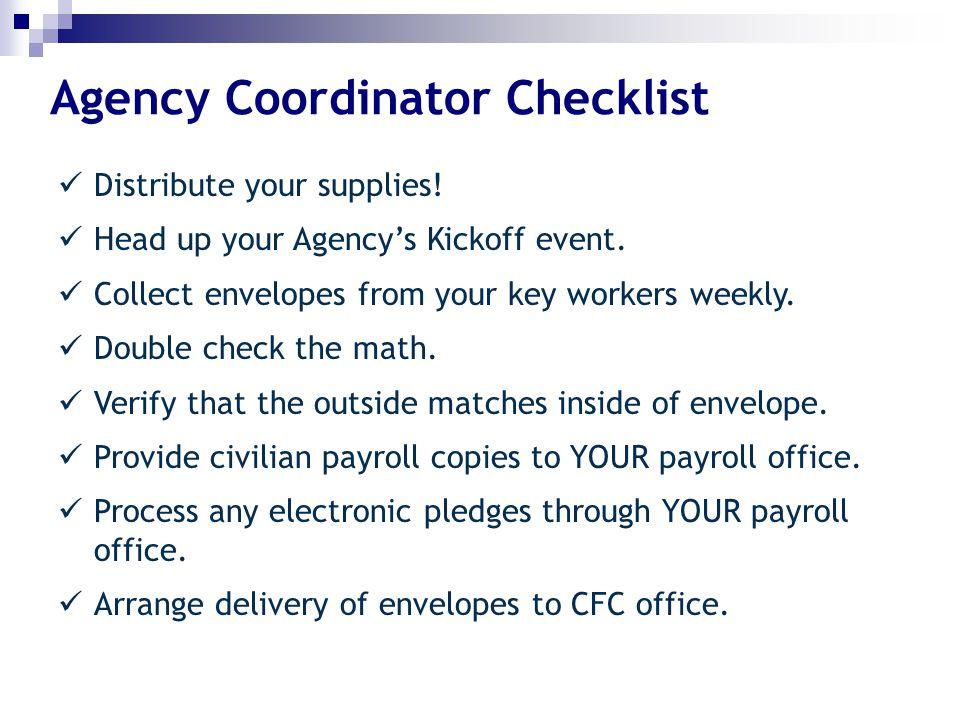 Agency Coordinator Checklist