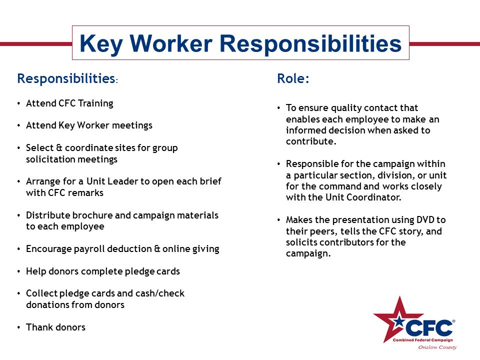 Key Worker Responsibilities