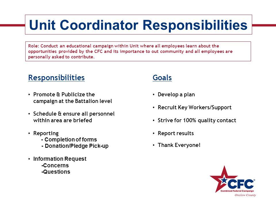Unit Coordinator Responsibilities