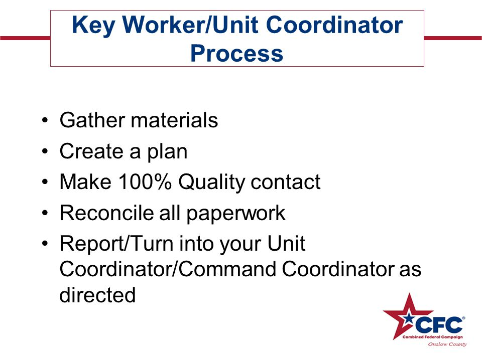 Key Worker/Unit Coordinator Process