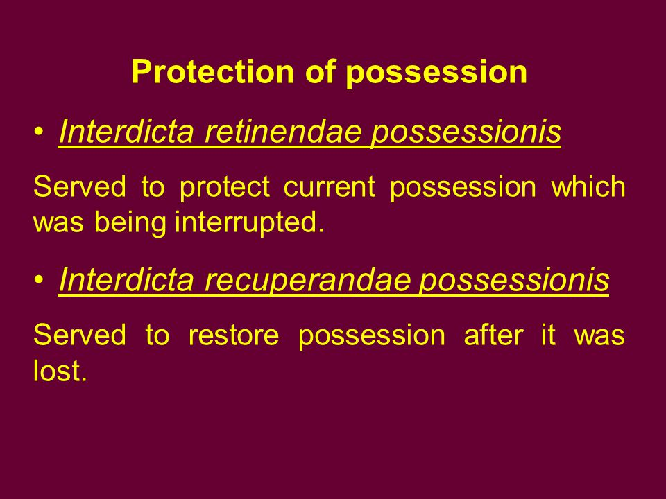 Protection of possession