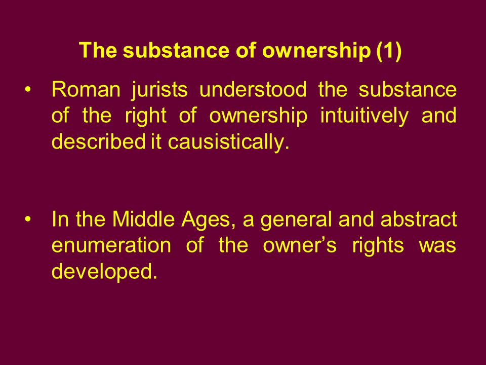The substance of ownership (1)