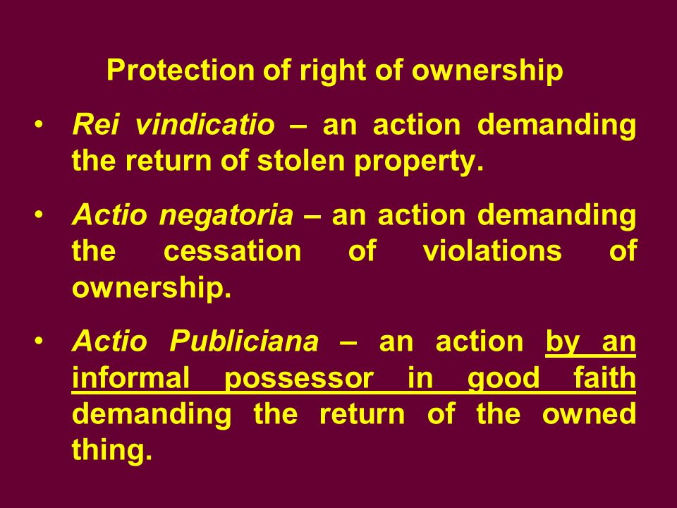 Protection of right of ownership
