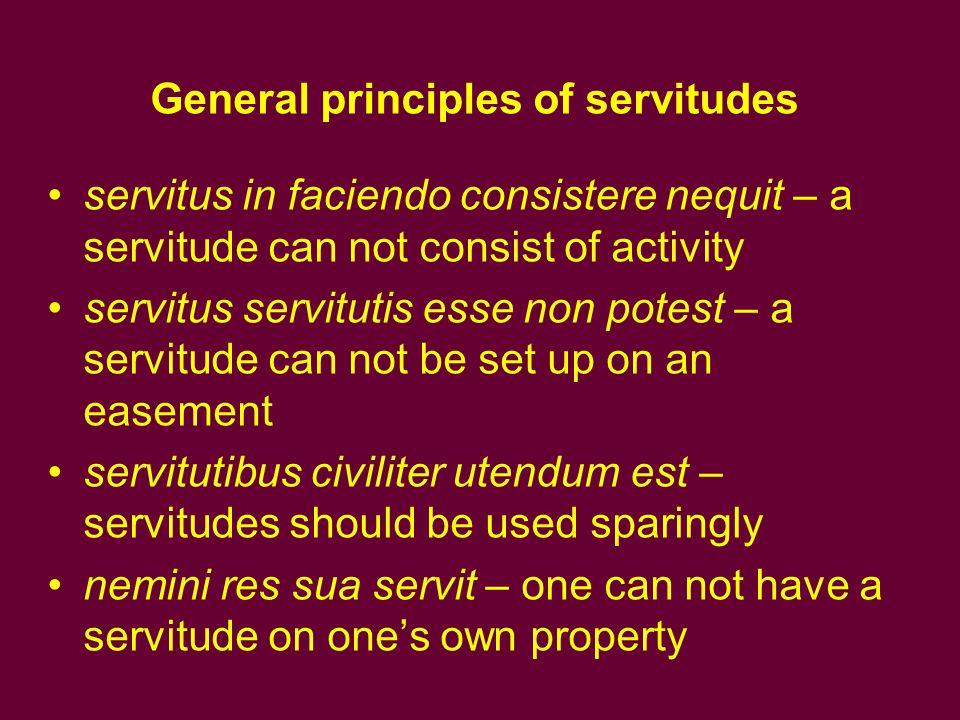 General principles of servitudes