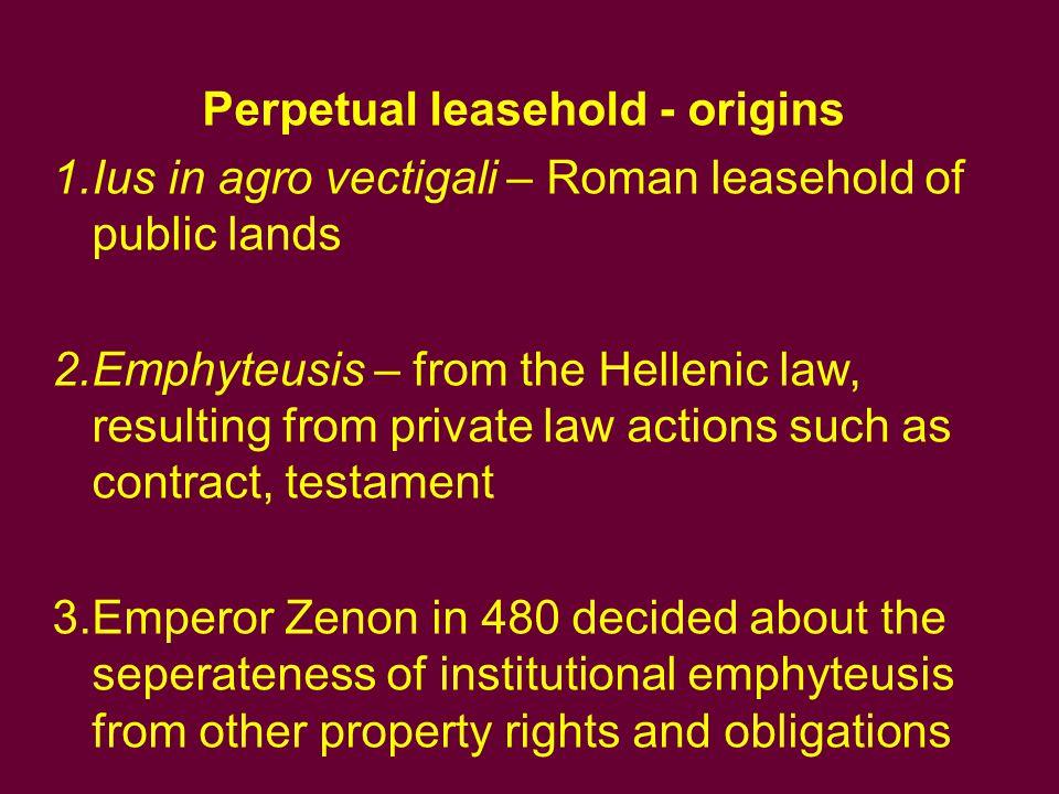 Perpetual leasehold - origins
