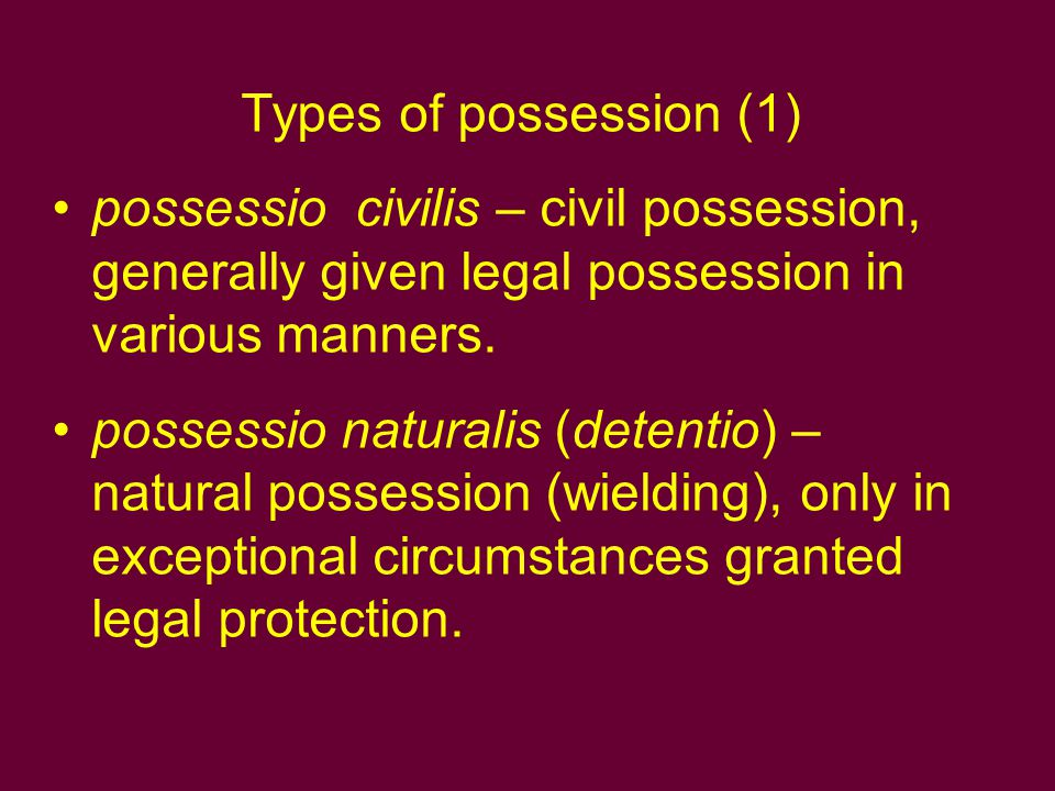 Types of possession (1) possessio civilis – civil possession, generally given legal possession in various manners.