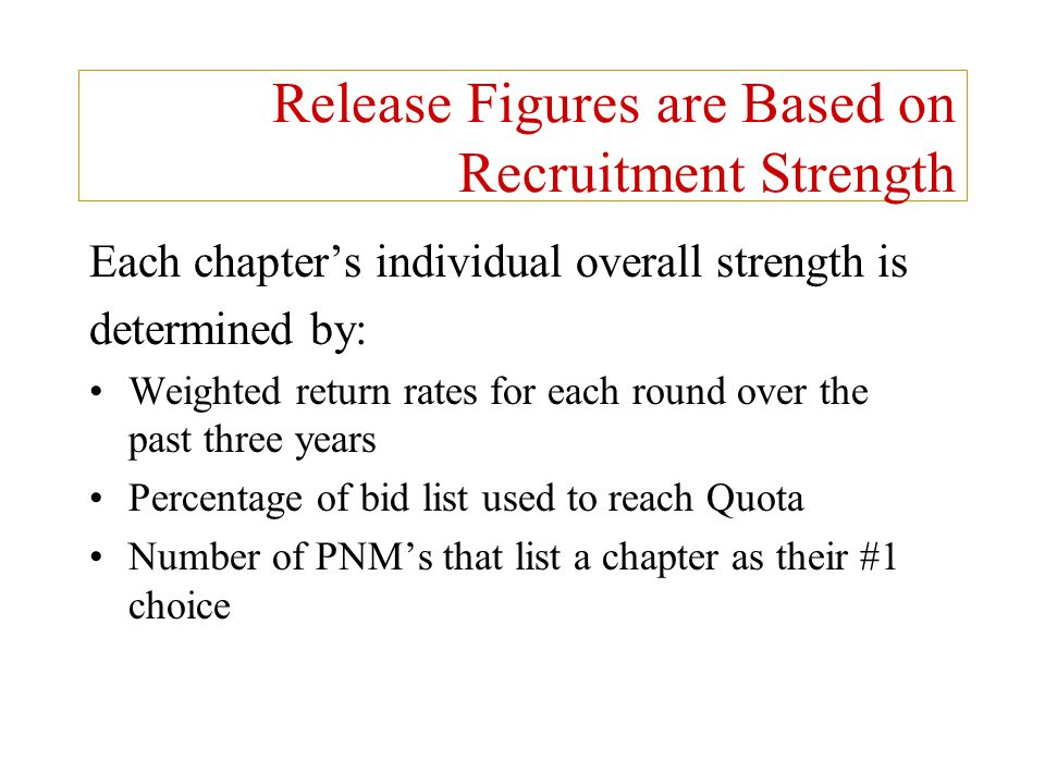Release Figures are Based on Recruitment Strength