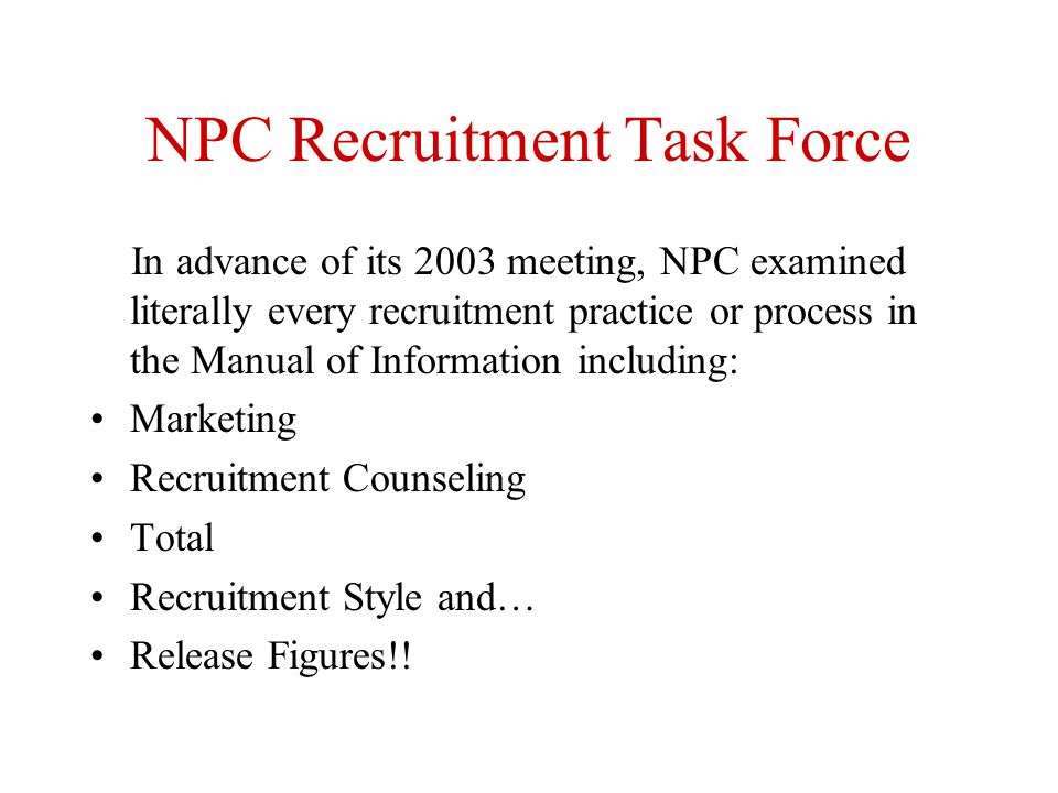 NPC Recruitment Task Force