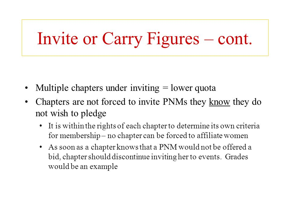 Invite or Carry Figures – cont.