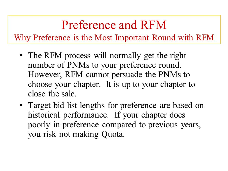Preference and RFM Why Preference is the Most Important Round with RFM