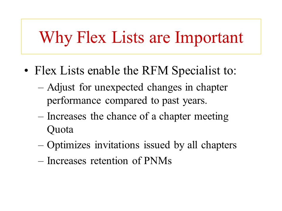Why Flex Lists are Important