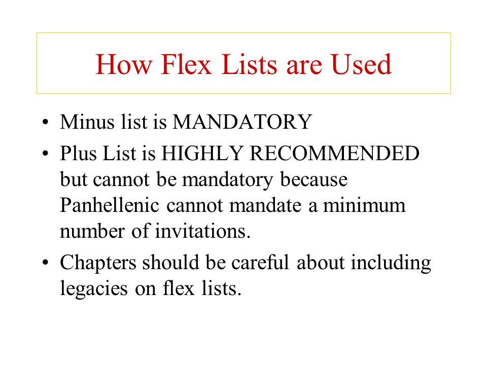 How Flex Lists are Used Minus list is MANDATORY