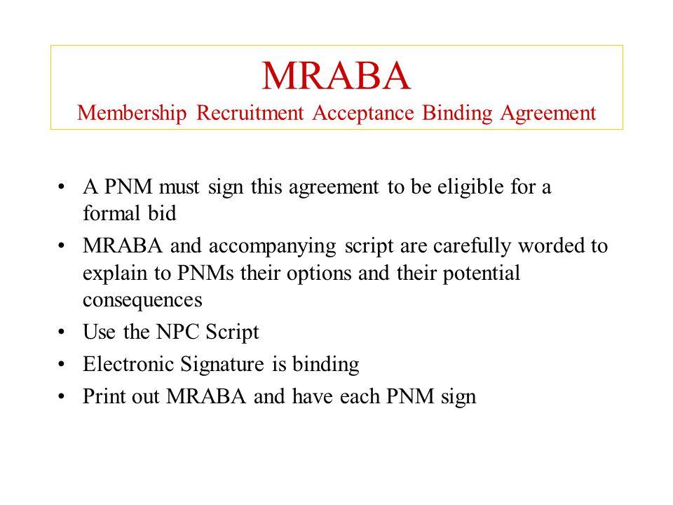 MRABA Membership Recruitment Acceptance Binding Agreement