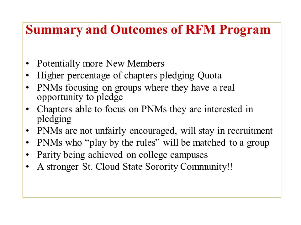Summary and Outcomes of RFM Program