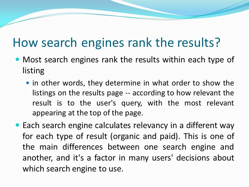 How search engines rank the results