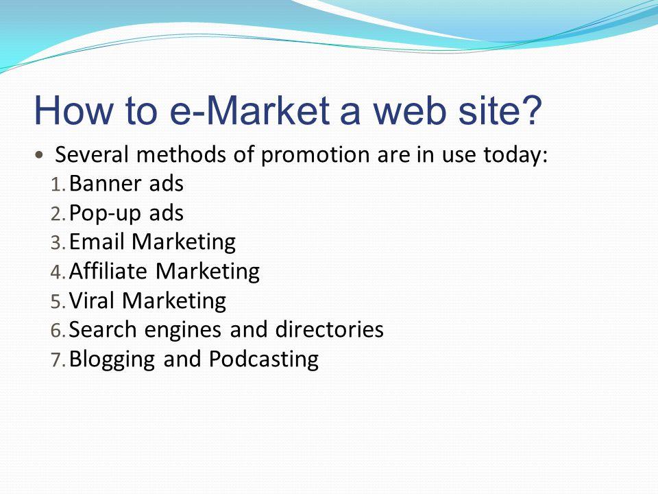 How to e-Market a web site