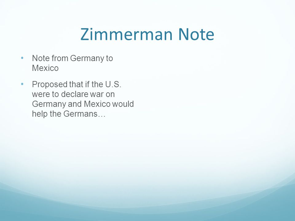Zimmerman Note Note from Germany to Mexico