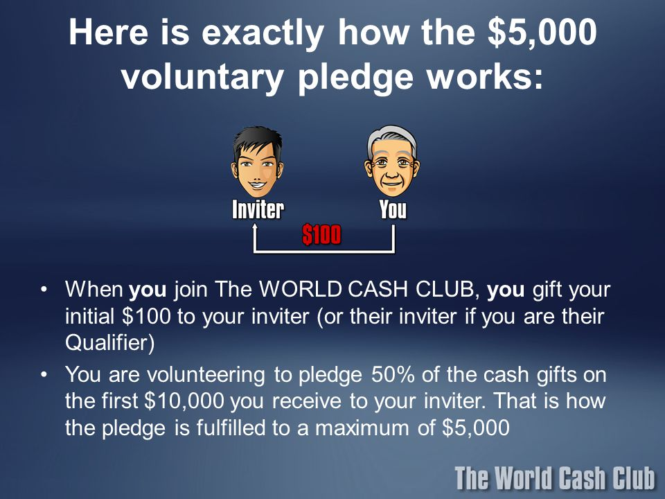 Here is exactly how the $5,000 voluntary pledge works:
