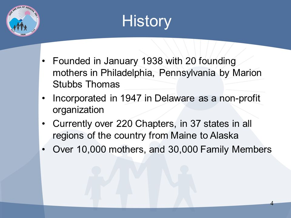History Founded in January 1938 with 20 founding mothers in Philadelphia, Pennsylvania by Marion Stubbs Thomas.