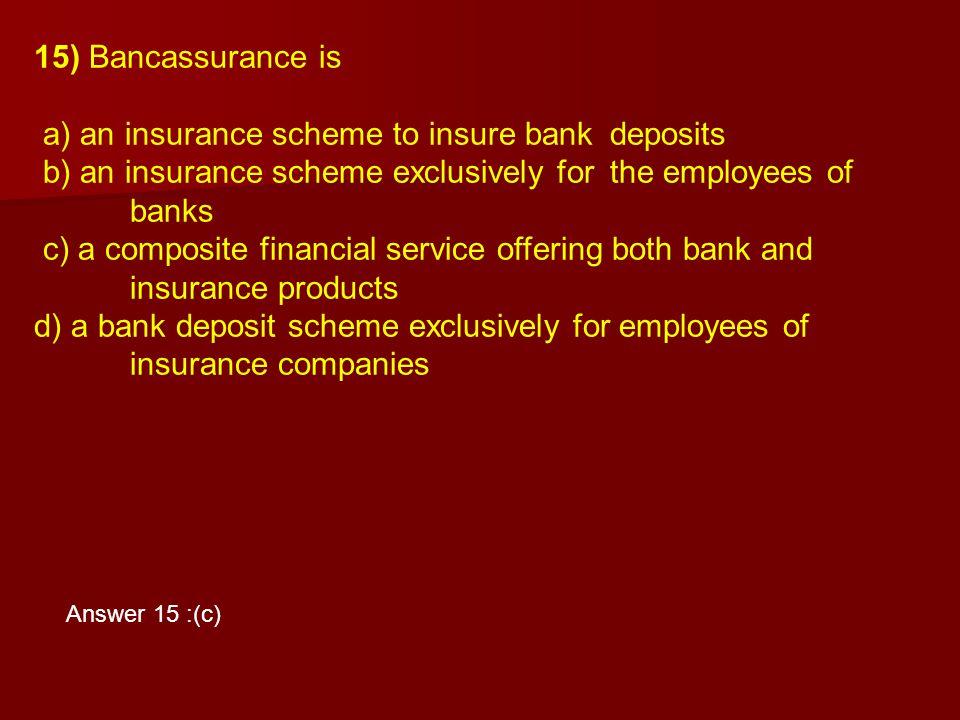 a) an insurance scheme to insure bank deposits