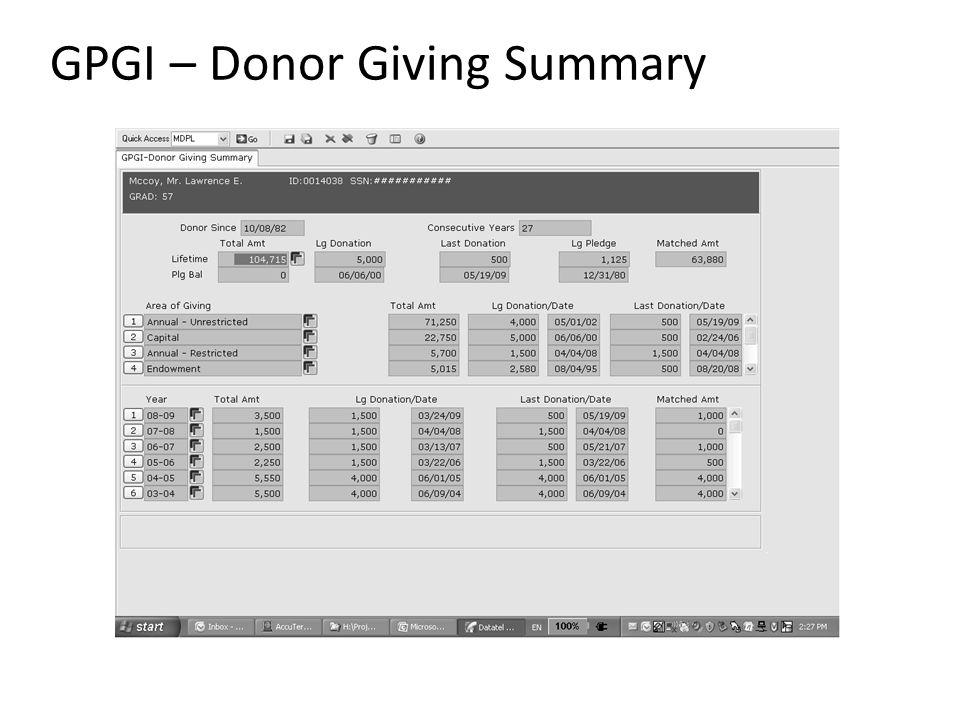 GPGI – Donor Giving Summary