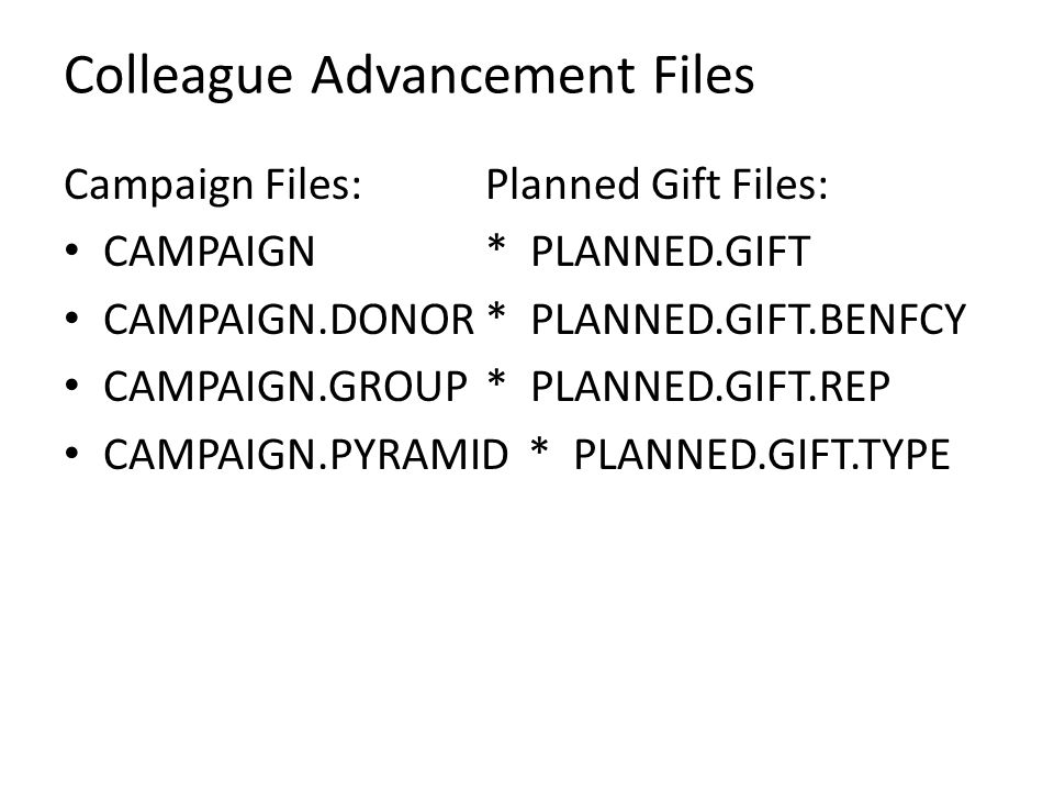 Colleague Advancement Files