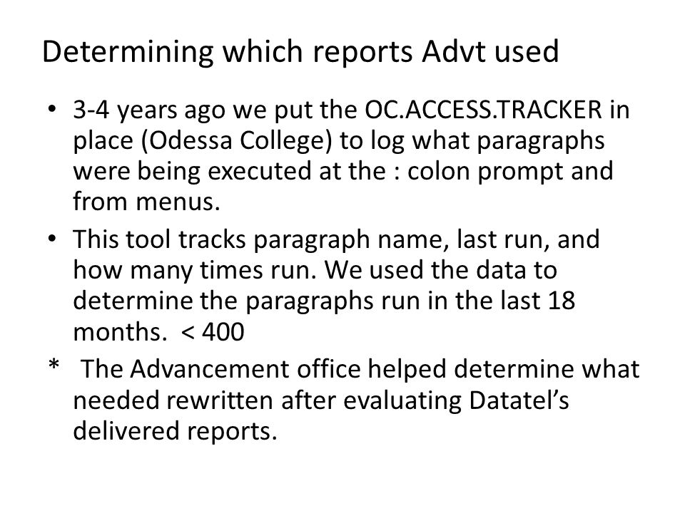 Determining which reports Advt used