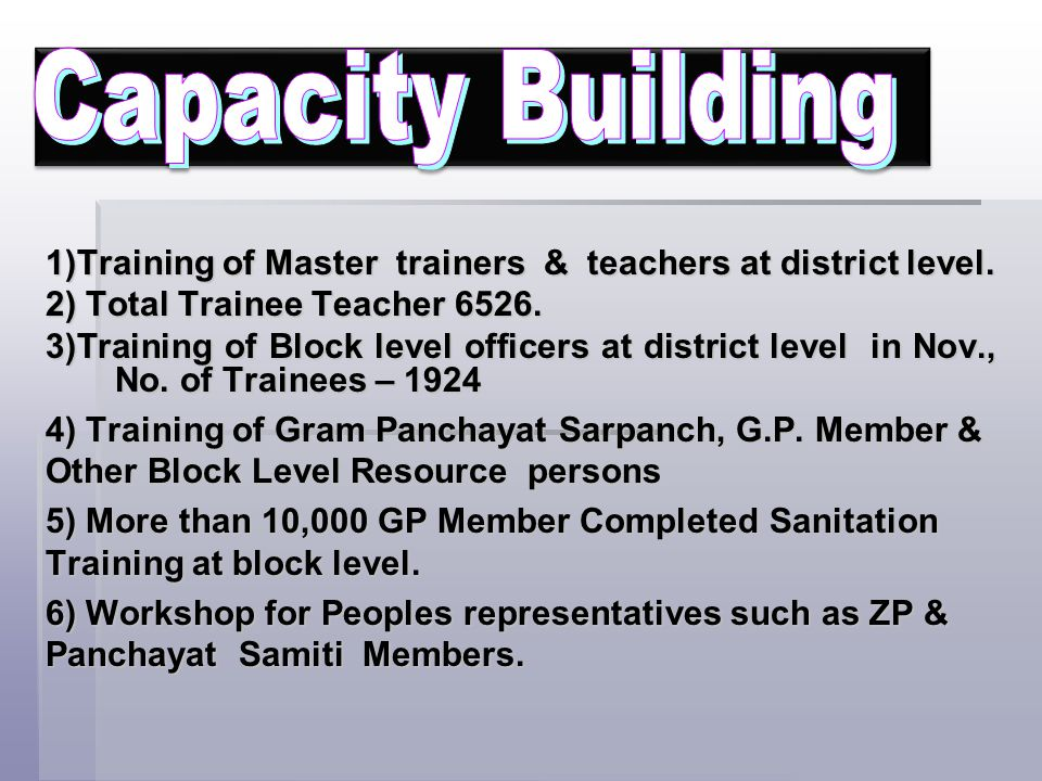 Capacity Building 1)Training of Master trainers & teachers at district level. 2) Total Trainee Teacher 6526.