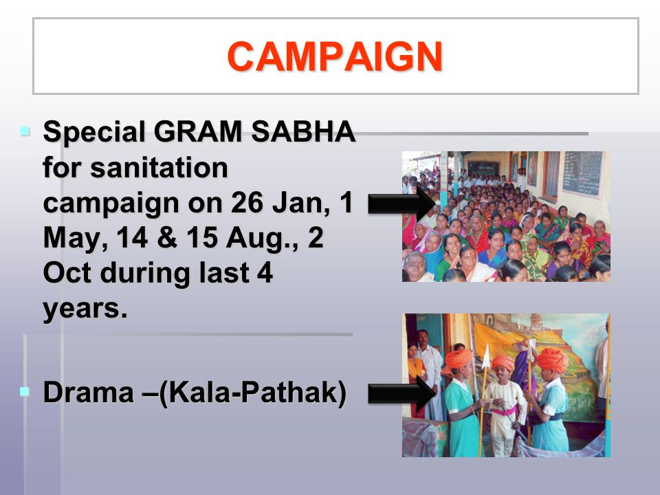 CAMPAIGN Special GRAM SABHA for sanitation campaign on 26 Jan, 1 May, 14 & 15 Aug., 2 Oct during last 4 years.
