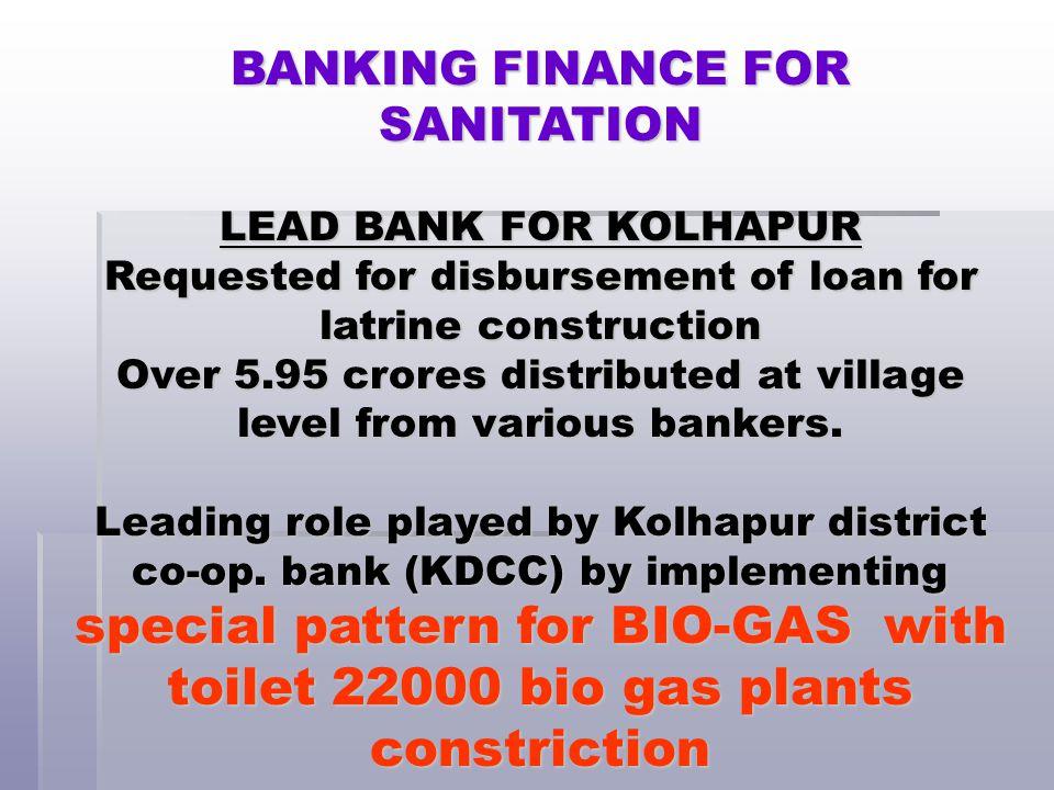BANKING FINANCE FOR SANITATION