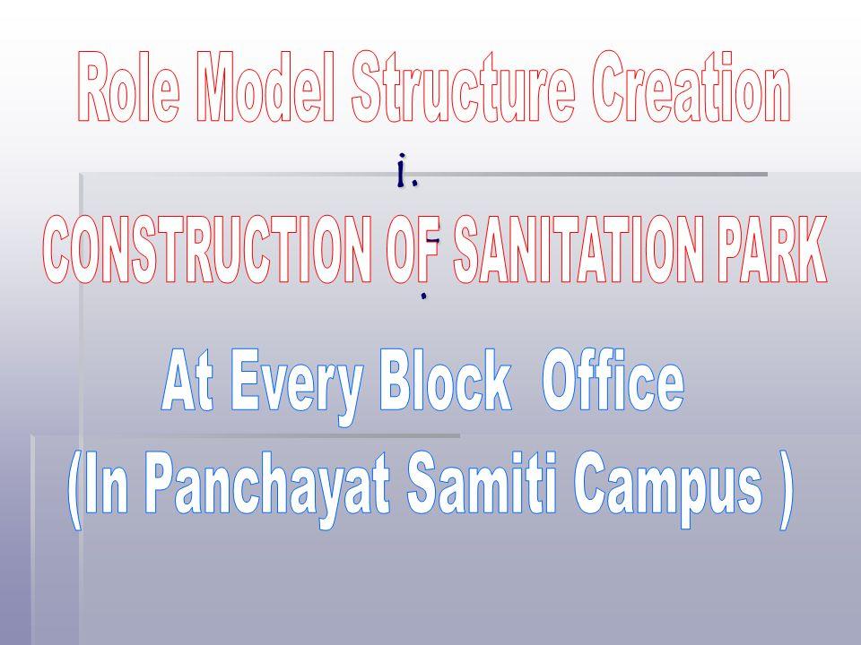 i.e. Role Model Structure Creation CONSTRUCTION OF SANITATION PARK
