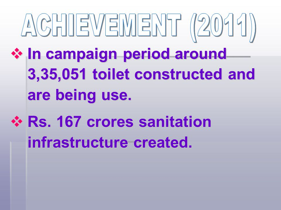 ACHIEVEMENT (2011) In campaign period around 3,35,051 toilet constructed and are being use.