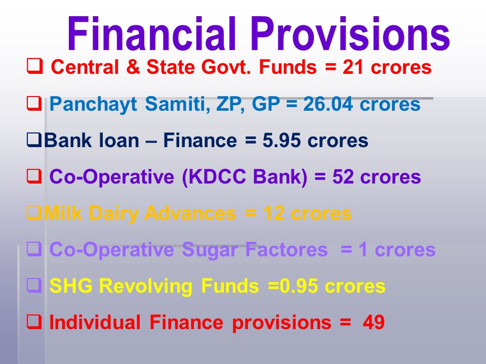 Financial Provisions Central & State Govt. Funds = 21 crores
