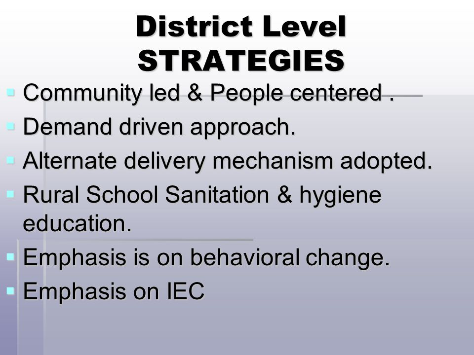 District Level STRATEGIES