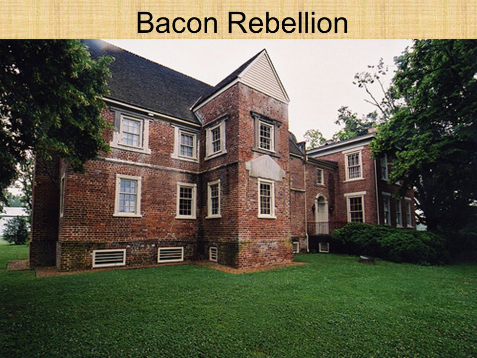 Bacon Rebellion 1676- Bacon led attacks on Native American villages
