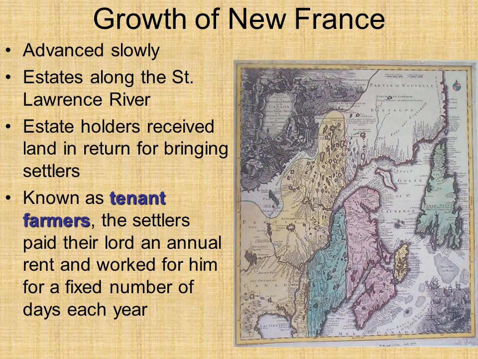 Growth of New France Advanced slowly
