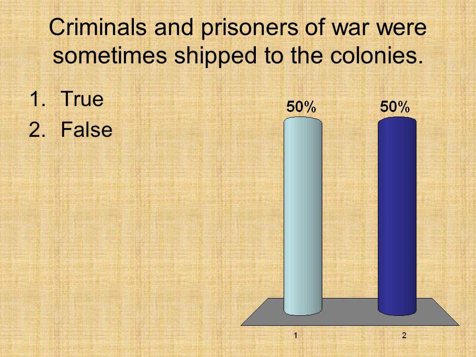 Criminals and prisoners of war were sometimes shipped to the colonies.
