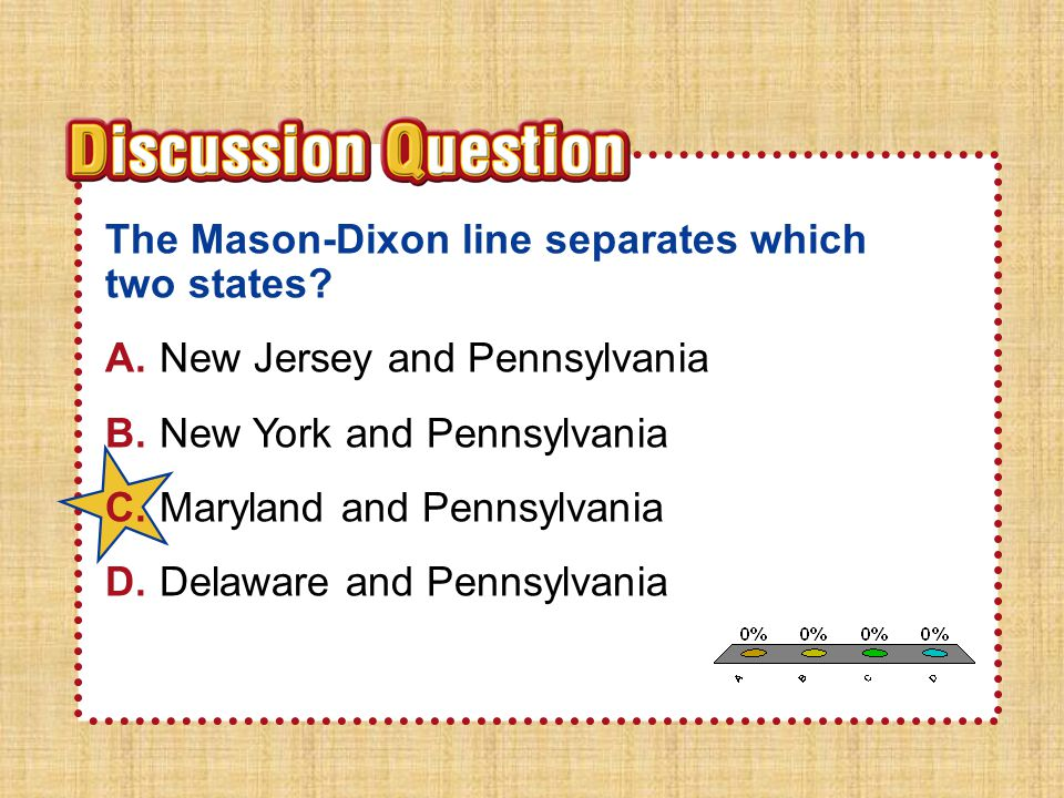 A B C D The Mason-Dixon line separates which two states