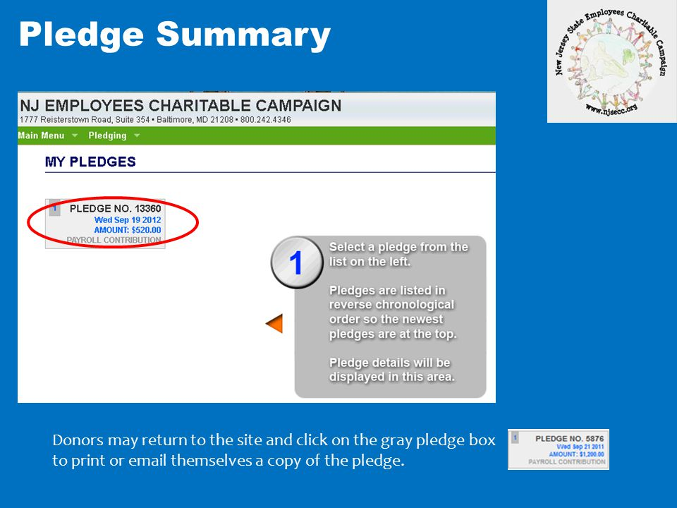 Pledge Summary Donors may return to the site and click on the gray pledge box.