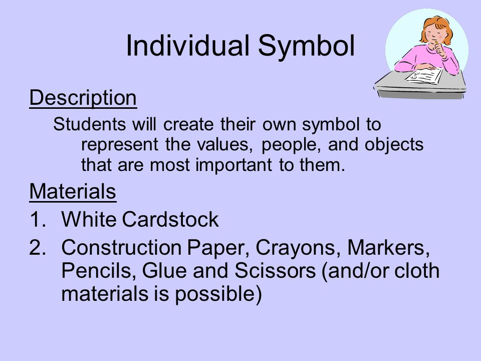 Individual Symbol Description Materials White Cardstock