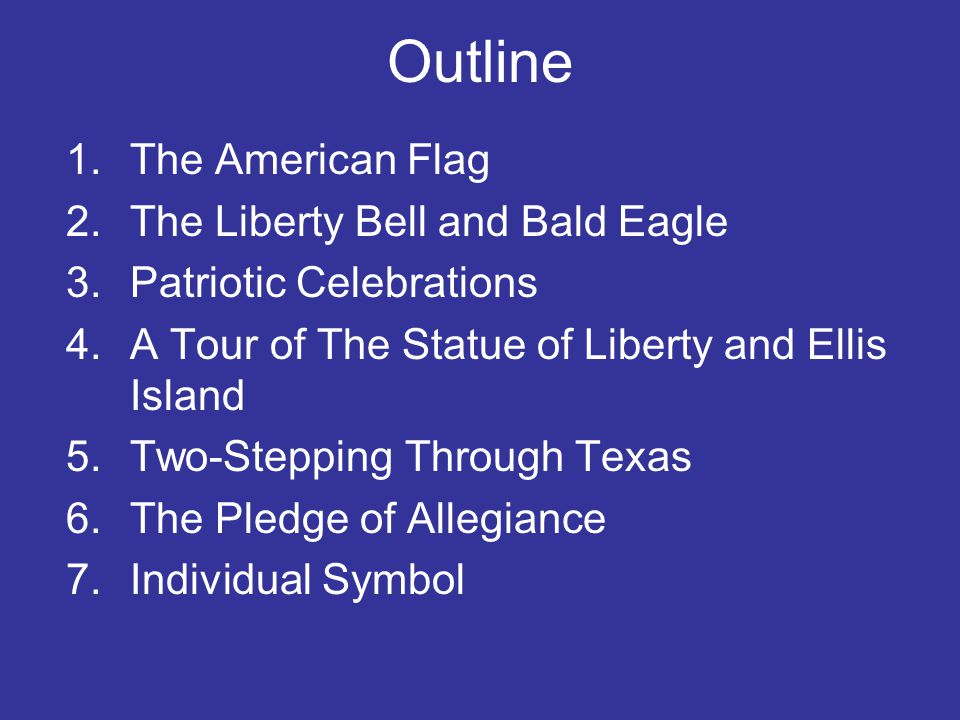 Outline The American Flag The Liberty Bell and Bald Eagle