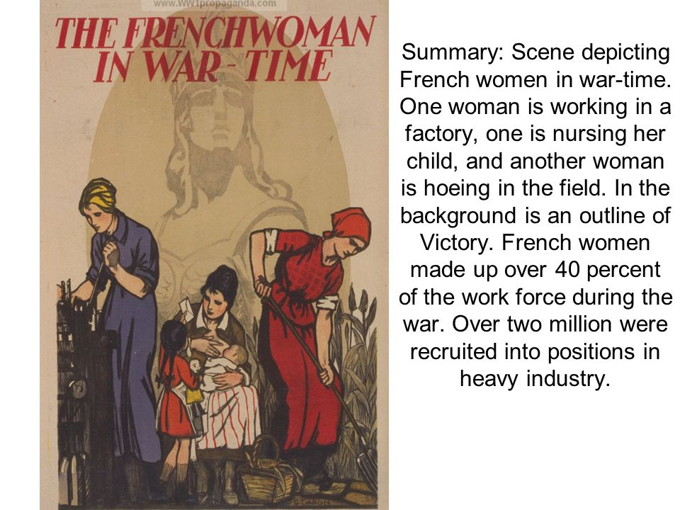 Summary: Scene depicting French women in war-time