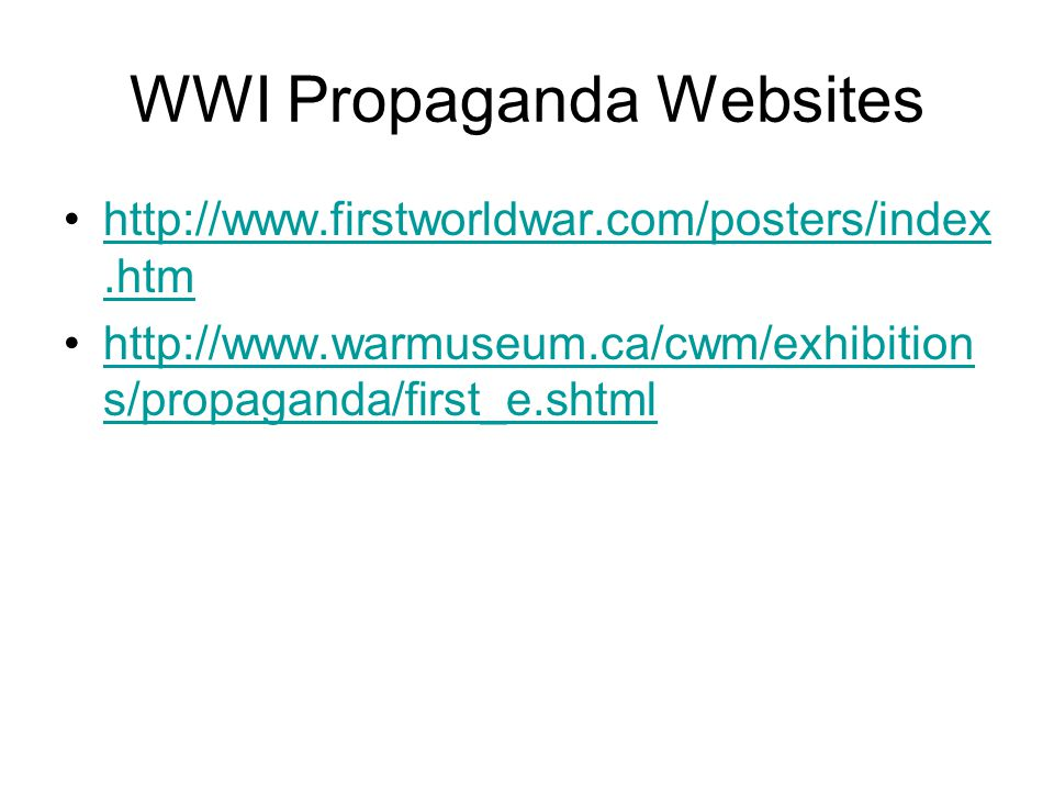 WWI Propaganda Websites