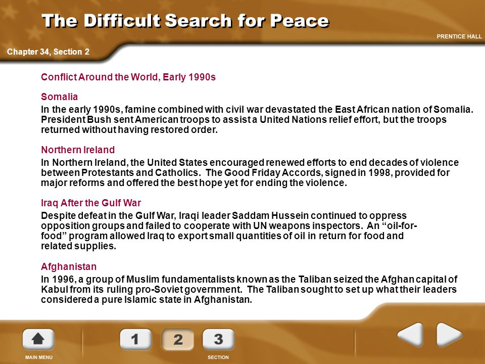 The Difficult Search for Peace