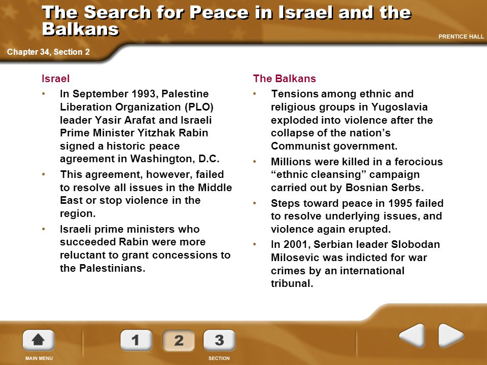 The Search for Peace in Israel and the Balkans