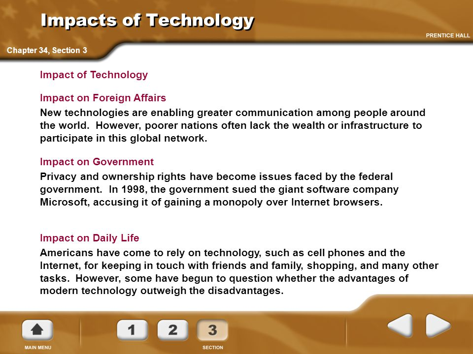 Impacts of Technology Impact of Technology Impact on Foreign Affairs